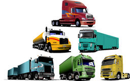 Colored Vector illustration of trucks Royalty Free Stock Photos