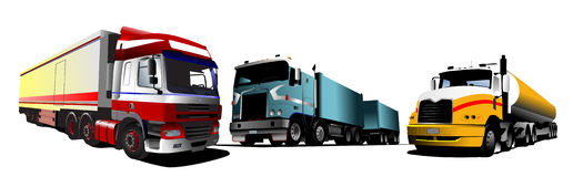 Colored Vector illustration of trucks Royalty Free Stock Image
