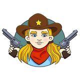 Colored Vector Illustration With Young Girl In Sheriff Hat And Two Revolvers In Her Hands. Royalty Free Stock Image