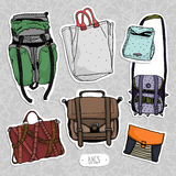 Colored vector set with original bags Royalty Free Stock Image