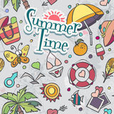 A colored vector texture with summer and beach doodles Royalty Free Stock Photos
