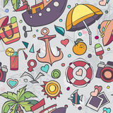 A colored vector texture with summer doodles.  Royalty Free Stock Photos