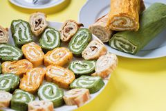 Colored vegetarian roll. Stock Photography