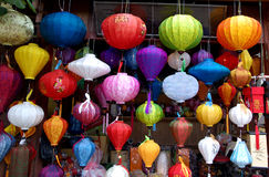 Colored vietnamese silk lanterns Stock Image