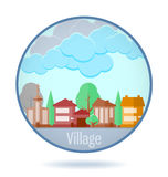 Colored village in a circle frame. Royalty Free Stock Image