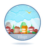 Colored village in a circle frame. Stock Photography