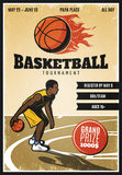 Colored Vintage Basketball Championship Poster Stock Images