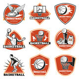 Colored Vintage Basketball Labels Set. With players sport equipment cup and clothing isolated vector illustration Royalty Free Stock Photos