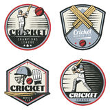 Colored Vintage Cricket Sport Emblems Set. With sportsmen crossed bats balls cap and glove isolated vector illustration Stock Photography