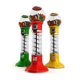 Colored  vintage gumball dispenser machine made of glass and ref Royalty Free Stock Image