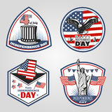 Colored Vintage Independence Day Emblems Set Stock Photos