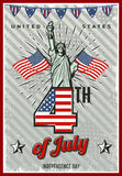 Colored Vintage Independence Day Poster Stock Photography