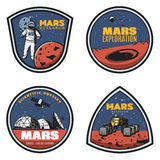 Colored Vintage Mars Research Emblems Set Stock Photography