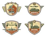 Colored Vintage Military Emblems Set Stock Image
