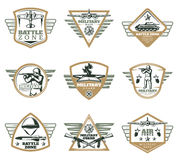 Colored Vintage Military Emblems Set Royalty Free Stock Photo