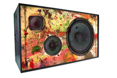 Colored vintage speaker,grungy. Colored speaker with paint splatters, worn and dirty, grunge, isolated on white background, clipping path Royalty Free Stock Photography