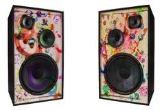 Colored vintage speakers,grungy Royalty Free Stock Photo