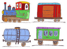 Colored vintage train with wagons Stock Photos