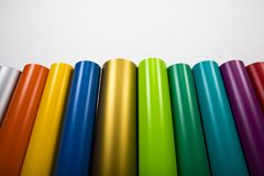 Colored vinyl rolls. Vinyl rolls of many colors Royalty Free Stock Images