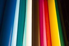 Colored vinyl rolls. Vinyl rolls of many colors Stock Image