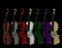 Colored Violins. 3D rendering of violins in different colors Royalty Free Stock Image