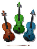 Colored violins. Three violins in colors against white background Stock Photo