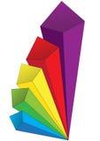 Colored volumetric arrows Stock Image