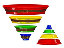 Colored volumetric sales funnel. Four steps. Belt tightening. Stock Image