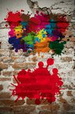 Colored wall. Colored abstract blot background on old brick wall Royalty Free Stock Photography
