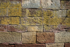 Colored wall. Closeup of a colorful brick wall royalty free stock photography
