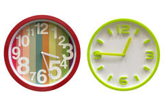 Colored wall clock isolated on white background. Image of colored wall clock isolated on white background stock image