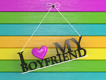 Colored wall labeled - I love my boyfriend Stock Images