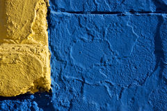 colored wall yellow and blue in la boca Stock Images