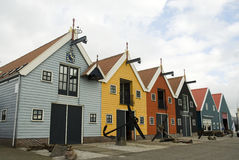 Colored ware-houses in harbor Stock Photography