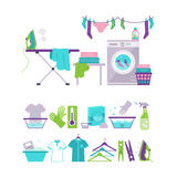 Colored Washing and Laundry Icons in Flat Style Royalty Free Stock Image