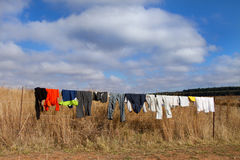 Colored washing on wire fence in africa Royalty Free Stock Photography