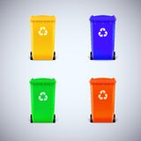 Colored waste bins with the lid closed Stock Image