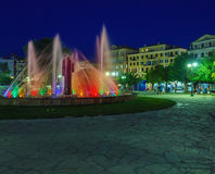 Colored water fountain at night, Corfu city Royalty Free Stock Image
