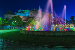 Colored water fountain at night, Corfu Royalty Free Stock Image