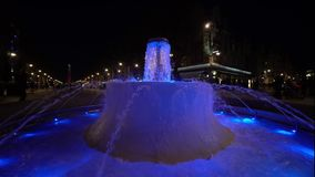Colored water fountain at night. Reims, France. 4k stock footage