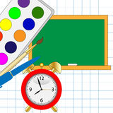 Colored watercolor,alarm clock and blackboard Royalty Free Stock Photo