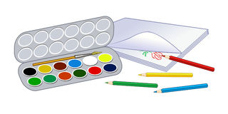 Colored watercolor. School subjects for drawing lessons. Colored watercolor. Colored pencils on a sheet of paper. School subjects for drawing lessons Stock Image