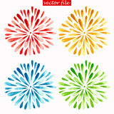 Colored Watercolor Sunburst Flowers. Green, Blue, Yellow and Red Watercolor Vector Sunburst Flower Stock Photos