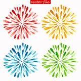Colored Watercolor Sunburst Flowers