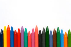 Colored wax crayon. S on white background Stock Photos