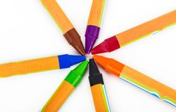 Colored wax crayons Royalty Free Stock Photos
