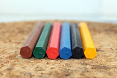Colored wax pencils Stock Photo