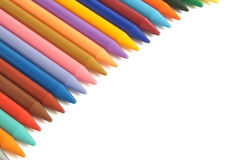 Colored wax pencils Stock Photos