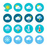 Colored weather icons in flat style. Different visualization of climate. Rainy and sunny days Royalty Free Stock Photo