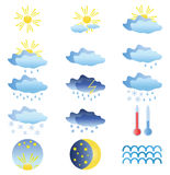 15 colored weather icons.Vector illustration Royalty Free Stock Image